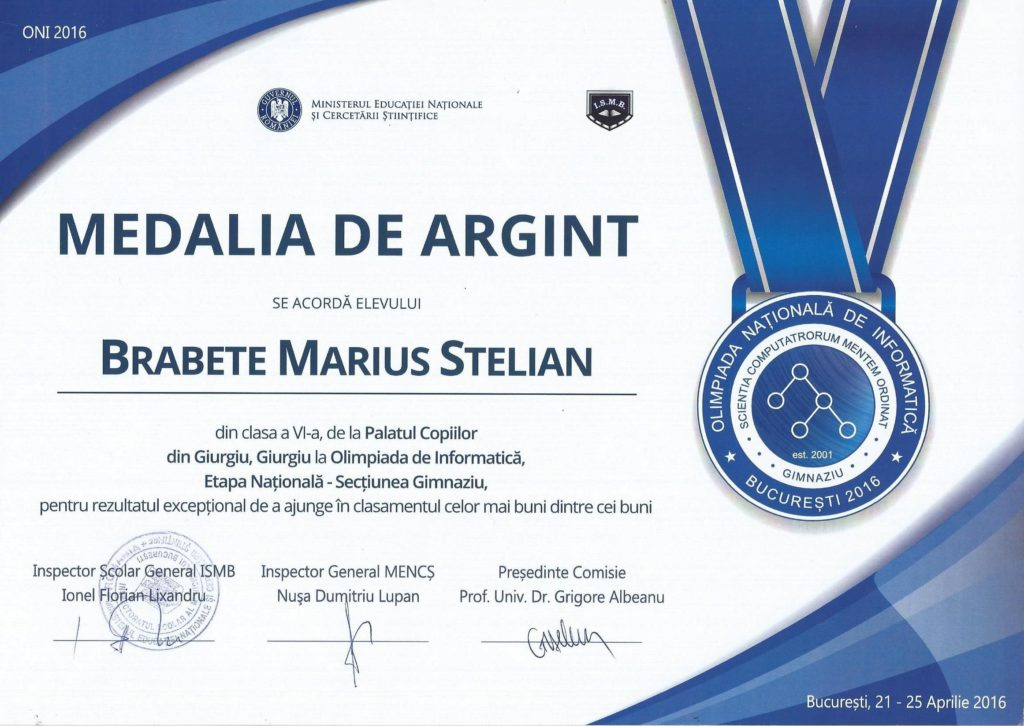 diploma marius brabete